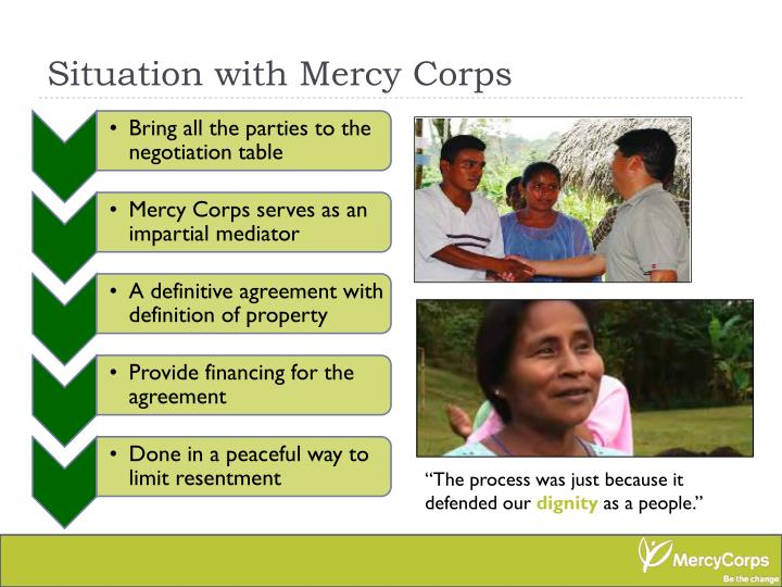 Situation with Mercy Corps