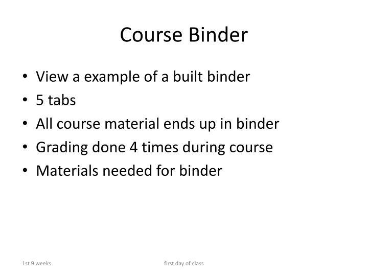 Course Binder