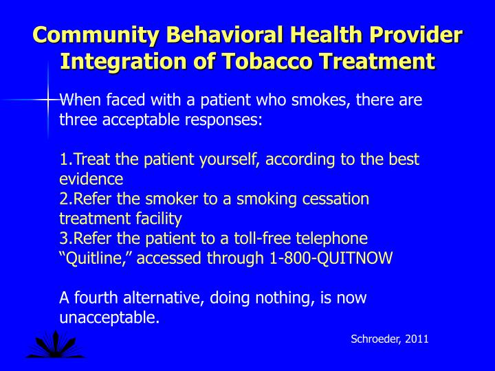 Community Behavioral Health Provider Integration of Tobacco Treatment