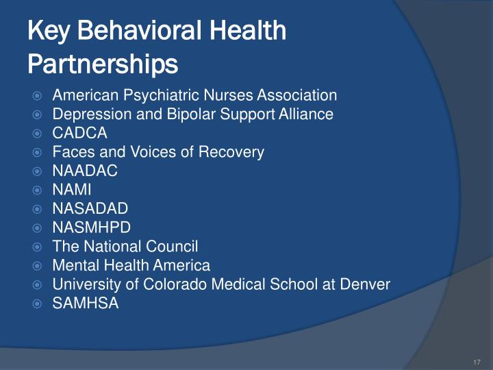 Key Behavioral Health Partnerships