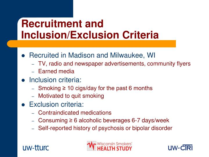 Recruitment and Inclusion/Exclusion Criteria