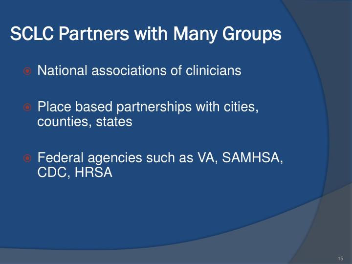 SCLC Partners with Many Groups