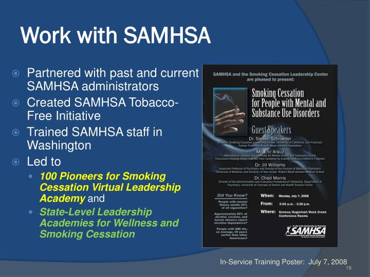 Work with SAMHSA
