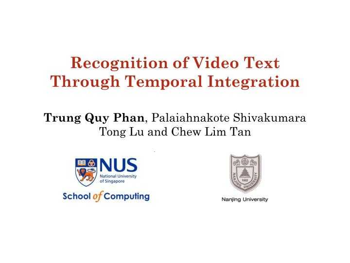 Recognition of Video Text