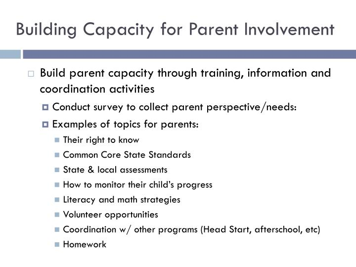 Building Capacity for Parent Involvement