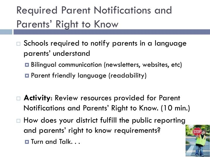 Required Parent Notifications and Parents' Right to Know