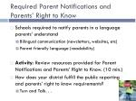 required parent notifications and parents right to know