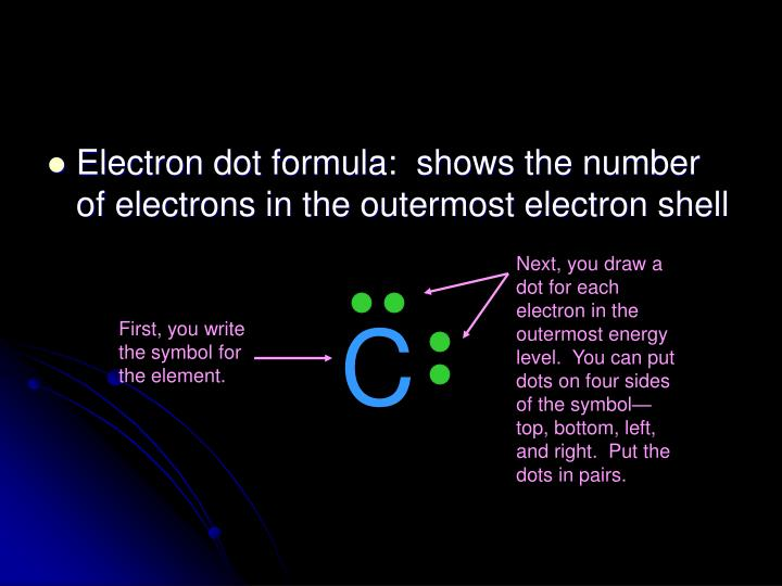 Electron dot formula:  shows the number of electrons in the outermost electron shell