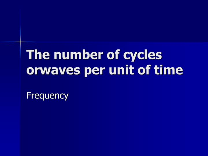 The number of cycles