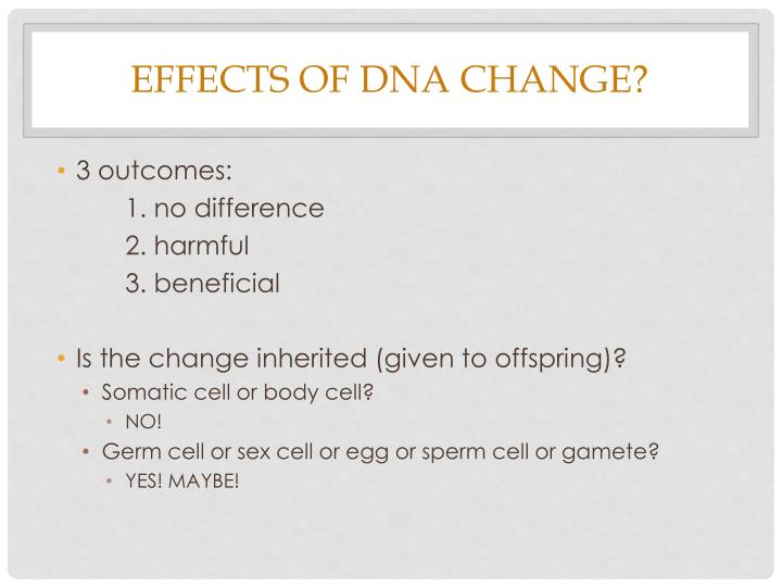 Effects of DNA change?