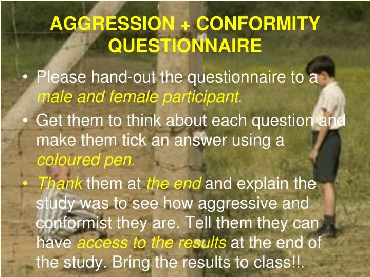 AGGRESSION + CONFORMITY QUESTIONNAIRE