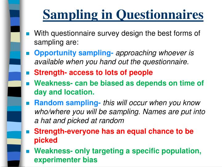Sampling in Questionnaires