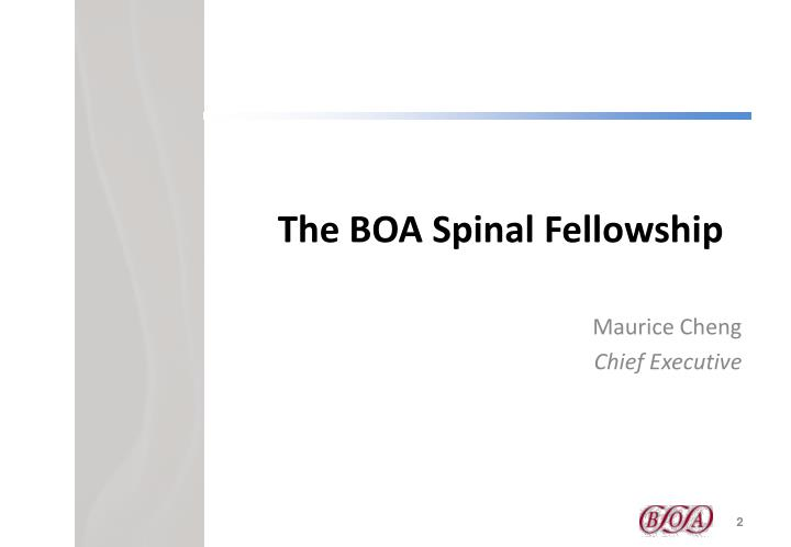 The BOA Spinal Fellowship