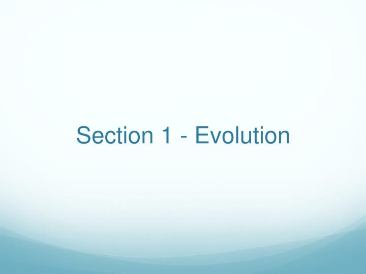 Section 1 evolution