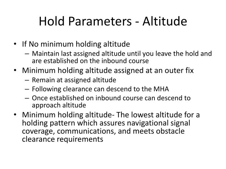 Hold Parameters - Altitude