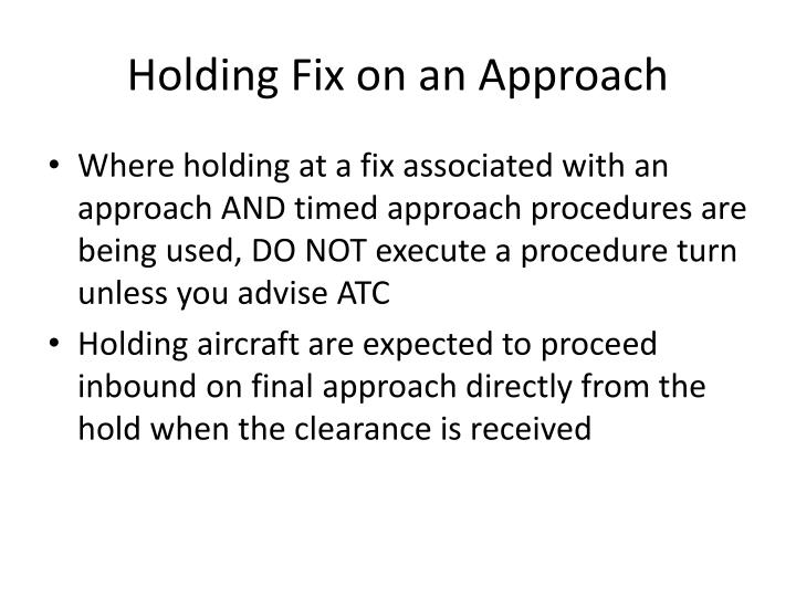 Holding Fix on an Approach