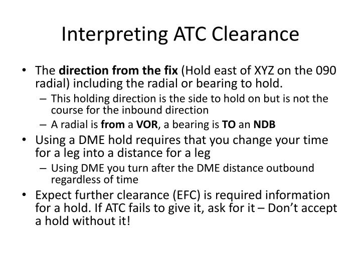 Interpreting ATC Clearance
