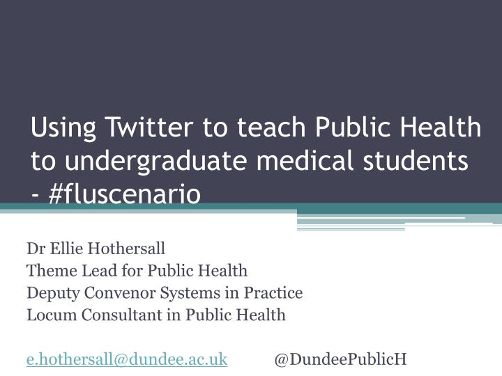 Using Twitter to teach Public Health to undergraduate medical students - #