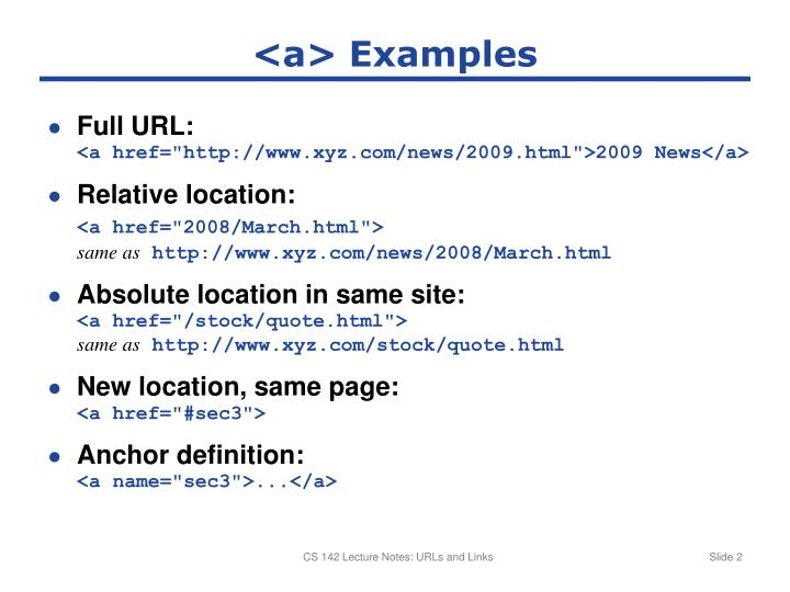 <a> Examples