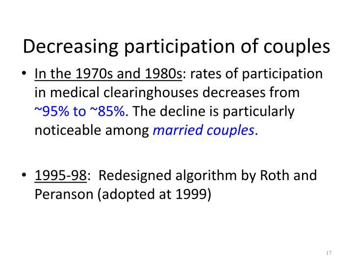 Decreasing participation of couples