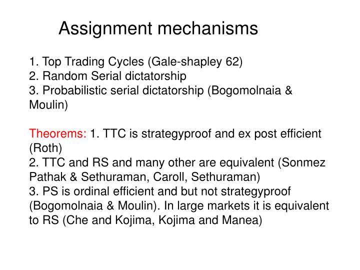 Assignment mechanisms