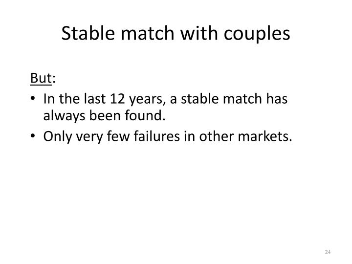 Stable match with couples