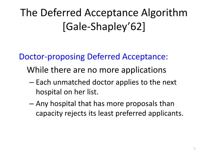 The Deferred Acceptance Algorithm [Gale-Shapley'62]