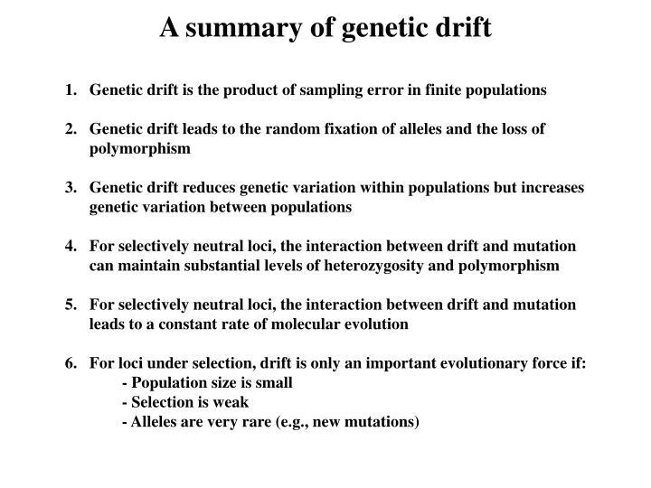 A summary of genetic drift