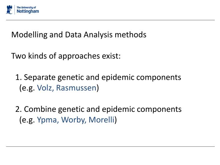 Modelling and Data Analysis methods