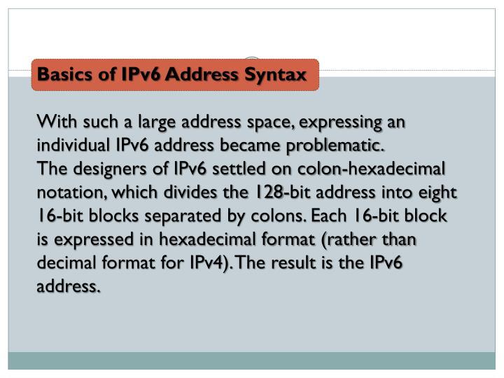 Basics of IPv6 Address