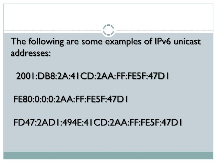 The following are some examples of IPv6 unicast addresses: