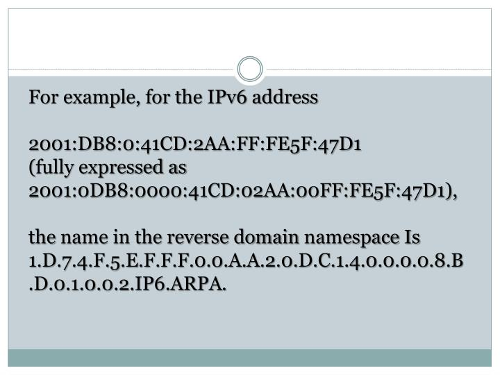 For example, for the IPv6 address