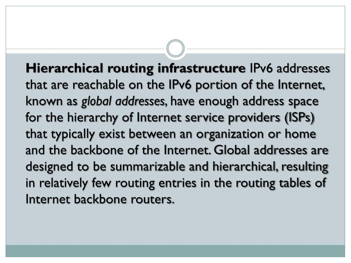 Hierarchical routing infrastructure