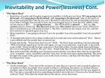inevitability and power lessness cont