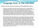 language cont in the iron heel
