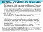 language knowledge and power cont