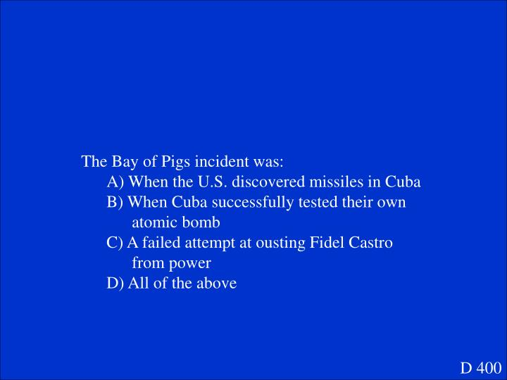 The Bay of Pigs incident was: