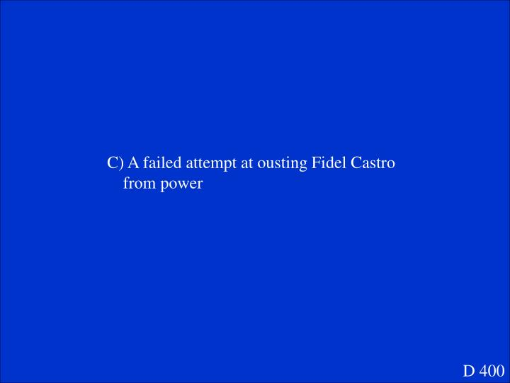 C) A failed attempt at ousting Fidel Castro from power