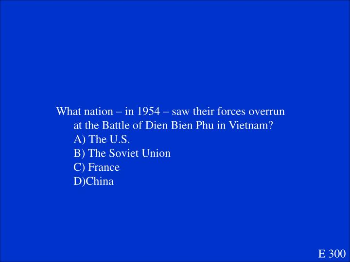 What nation – in 1954 – saw their forces overrun at the Battle of Dien Bien Phu in Vietnam?