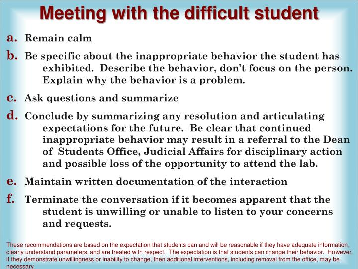 Meeting with the difficult student