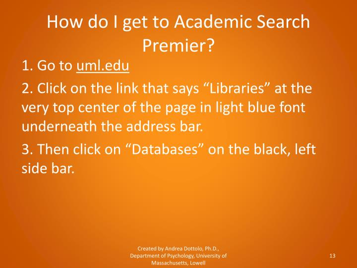 How do I get to Academic Search Premier?