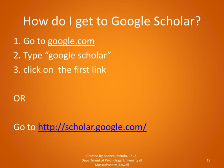 How do I get to Google Scholar?