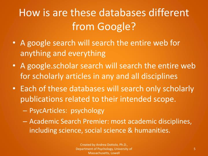 How is are these databases different from Google?