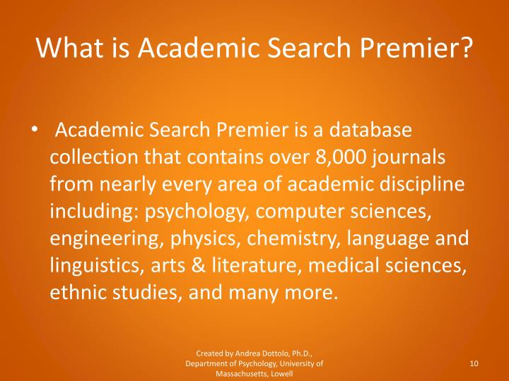 What is Academic Search Premier?