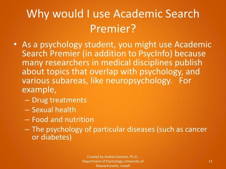 Why would I use Academic Search Premier?