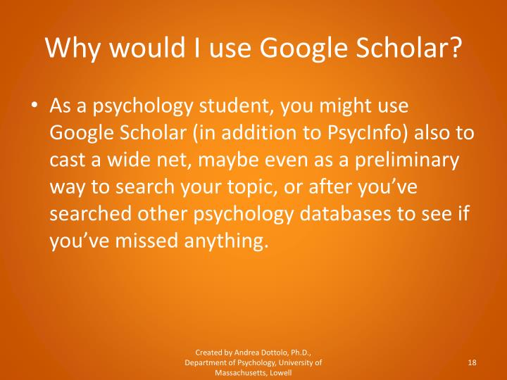 Why would I use Google Scholar?