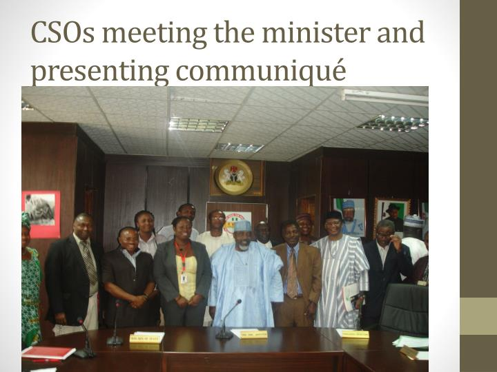 CSOs meeting the minister and presenting communiqué