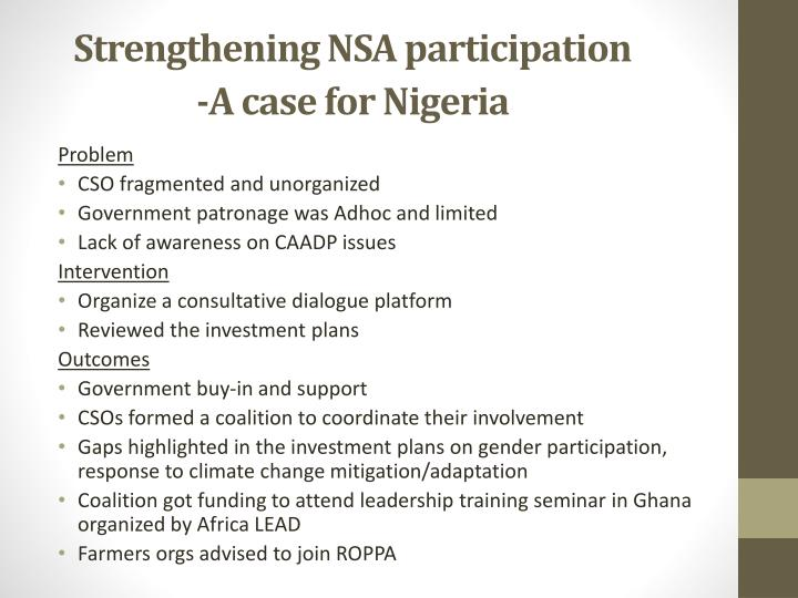 Strengthening NSA participation