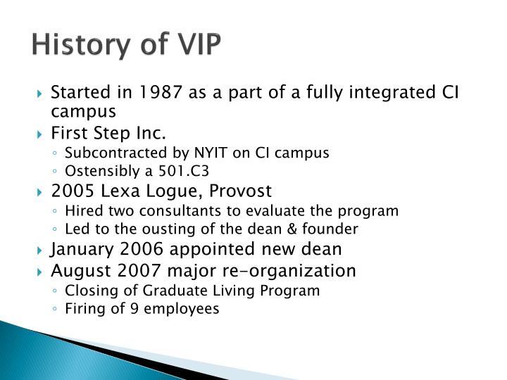 History of VIP