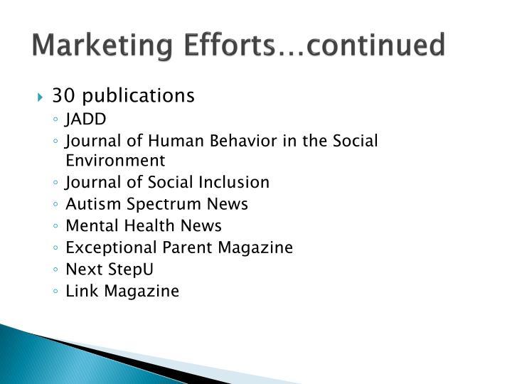 Marketing Efforts…continued